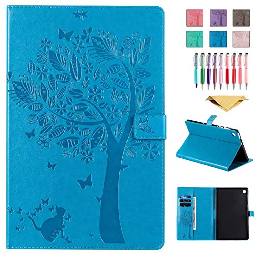 QYiD Leather Case for Galaxy Tab S4 10.5' SM-T830/T835/T837, Enbossed Design [CAT & Tree] PU Leather Book Folio Smart Cover with Stand for Galaxy Tab S4 10.5 inch 2018, Blue