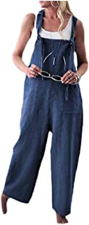 XINHEO Womens Stylish Plus-Size Pockets Loose Overalls Long Jumpsuits