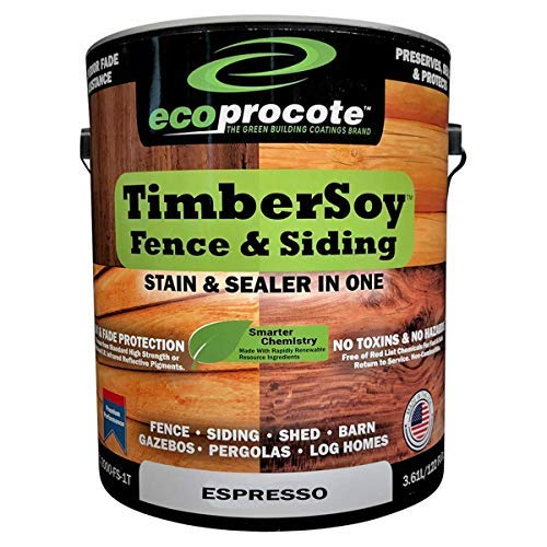 TimberSoy Wood Fence Stain & Sealer in One | Non Toxic Waterproofing Stain for Fences, Siding, Sheds | 1 Gallon, Espresso Stain…