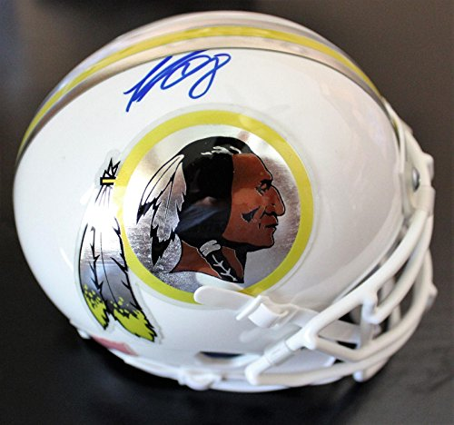 Signed Kirk Cousins Mini Helmet - Custom Chrome Decal w COA White - Autographed NFL Mini Helmets