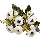 YTHX Flor Artificial 10 Cabezas / 1 Paquete De Té De Seda Rosa Ramo De Novia Navidad Hogar Boda Año Nuevo Decoración Flores ArtificialesBlanco