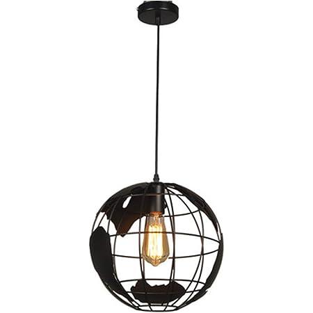 Mengjay Lampe suspension 20cm noir éclairage intérieur Industriel pendentif vintage lampes globe créatif terre fer cage rétro lustre plafond pour restaurant bar salle à manger luminaire