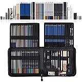 SHYOSUCCE 83pcs Set de Lápices Colores y Lápices Dibujo con Accesorios de Dibujo, Bolsa de lápices, Lápices Acuarelables para Bocetos, Sombreados y Colorantes