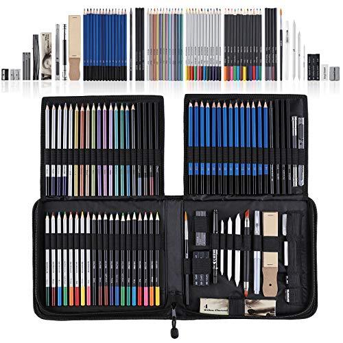 SHYOSUCCE 83 Set Matite Colorate e Matite Disegno con Accessori, Sacchetto delle Matite, Matite Acquerellabili per Principianti e Artisti Professionisti del Disegno, Schizzi, Ombreggiature e Colori