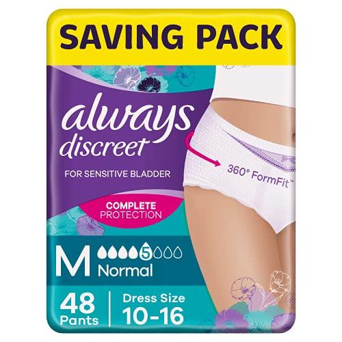 Always Discreet Incontinence Pants for Women, Normal, Medium, 48 Pants,...
