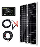 Topsolar Solar Panel Kit 30W 12V Monocrystalline Battery Charger Maintainer with 10A Charge Controller + Extension Cable for 12...