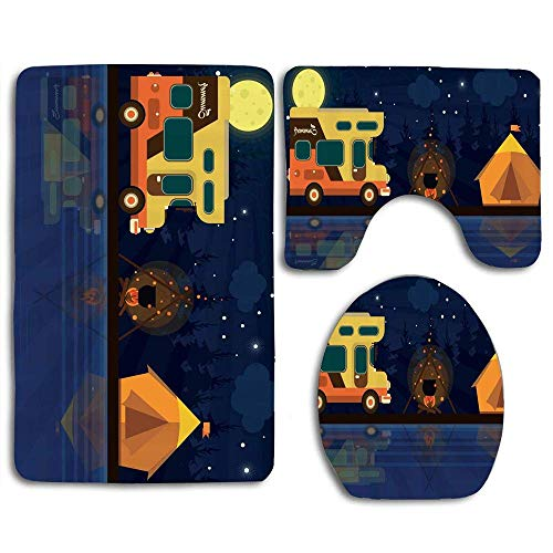 N\A A Mobile Home on Night Woodland Background Tent and Fire by The Lake 3pcs Bathroom Rugs Set,Non Slip Absorbent Toilet Seat Cover Bath Mat Lid Cover