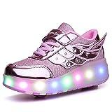 Chaussures de chargement USB Chaussures à rouleaux Baskets garçons Filles Roller Roller Skate Shoes Kids LED Lumière Lumière Light Up Double Roues Chaussures pour enfants Meilleur cadeau,Rose,33