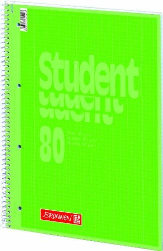 5 Collegeblöcke Student A4, Colour Code kiwi, kariert (Lin. 28) 80 Blatt, 90g/m²