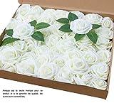 Amajoy Lot de 50 roses artificielles de couleur ivoire à l'aspect et au toucher naturel, pour des bouquets personnalisés de mariage, une fête prénatale ou la décoration d'une maison