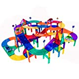 PicassoTiles 150 Piece Race Car Track Building Block Educational Toy Set Magnet Tile Magnetic Blocks Playset 4 Cars Early STEM Learning Construction Kit Hand-Eye Fine Motor Skill Brain Training PTR150