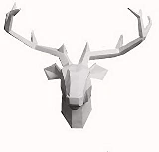 Yunno White Faux Taxidermy Resin Deer Head in Animal Head Wall Decor Deer Head Wall Mount Sculpture (White)