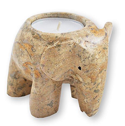 Fossiler Stein Elefanten-Teelicht Kerzenständer - Teelichter inklusive!
