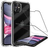 LK Compatible con iPhone 11 2019 6.1 Inch Funda, 2 Pack Protector de Pantalla Vidrio Templado,Absorción Impactos Air Cushion Corners Carcasa HD Clara Case Cover - Transparente