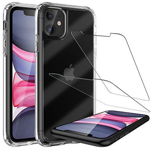 LK Funda para iPhone 11 6.1, Carcasa Anti-Choques, Anti-Arañazos HD Clara Case Cover con Vidrio Templado Screen Protector[2 Pack] para iPhone 11 6.1 - Clara