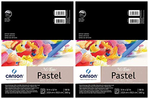 2-Pack - Canson Mi-Teintes Pastel Paper Pad, White with Glassine, Dual Sided Light and Heavy Texture, Top Wire Bound, 98 Pound, 9 x 12 Inch, White, 16 Sheets Each Pack