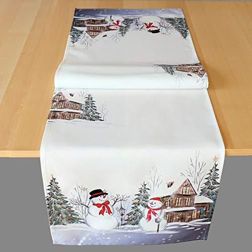 Kamaca Serie Schneemänner hochwertiges Druck-Motiv Weihnachtstischdecke Winter Weihnachten (Tischläufer 40x140 cm, Mehrfarbig)