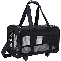 commercial Amazon Basics Wheel Soft Pet Carrier Net Small (17 x 9 x 10 inches) pet carrier wheels