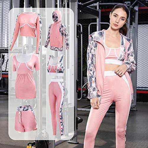 GLXQIJ 5Pcs Juego De La Yoga De La Mujer Establecido, Diseño De Moda Impresas, Series Suaves Cómodas De Secado Rápido Chándales, Correr Entrenamiento para Correr Al Gimnasio Sweatsuit,Rosado,XL