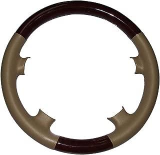 Pursuestar Tan Leather Brown Wood Steering Wheel Cover Protector Cap for 2000-2002 Mercedes Benz W210 E Class E320 E430 E500 E55 AMG