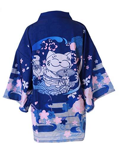 Kawaii-Story KJ-14 Blau Sakura Glücks-Katze Japan Kirschblüten Haori Über-Jacke Geisha Kimono Yukata Harajuku
