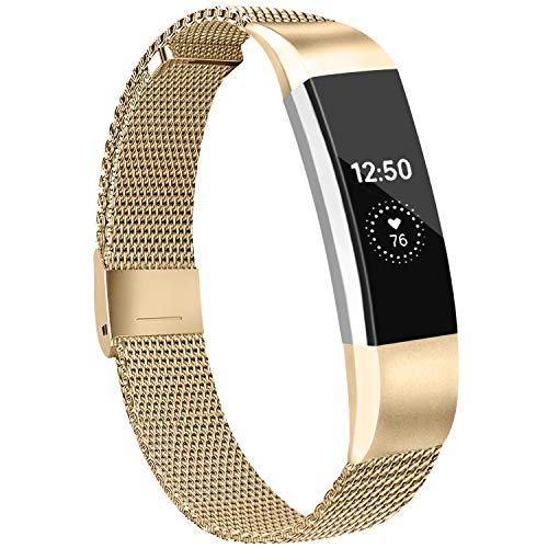 IEOVIEE Metal Loop Bands Compatible with Fitbit Alta/Fitbit Alta HR Band, Adjustable Stainless Steel Magnetic Lock Replacement Strap Wristbands for Women Men (Small, 05 Rose Gold)