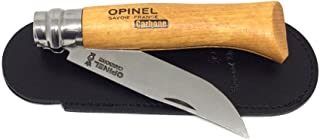 Opinel N8 Carbon Pocket Knife and 'Bertrand de Lussac' Black Leather Sheath