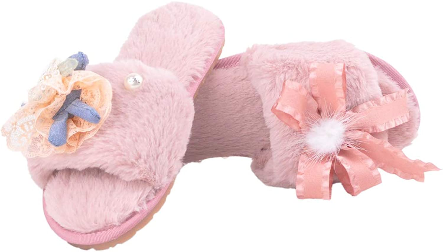 Zarbrina Home Slippers Fluffy Open-Toe Women Fashion Indoor Outdoor Fur Plush Lined Open Toe Bowknots House Flats