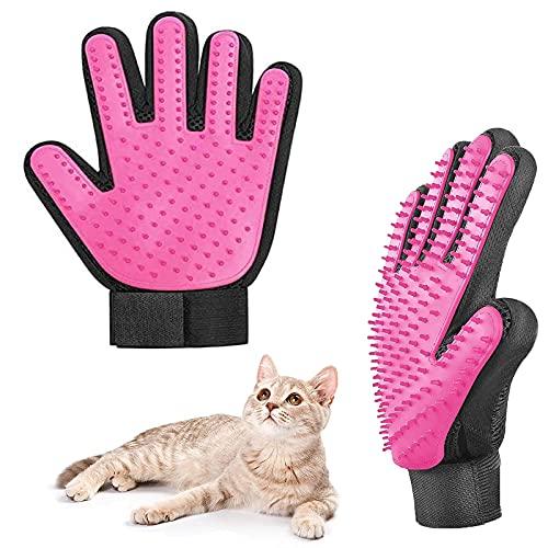 Tuofang Pet Bürste Handschuh, 2 Stück Haustier Handschuh, Haustier Pflegehandschuh, Hundesalon Handschuh, Massagehandschuh für Hunde und Katzen Haarentfernung (Rosa)