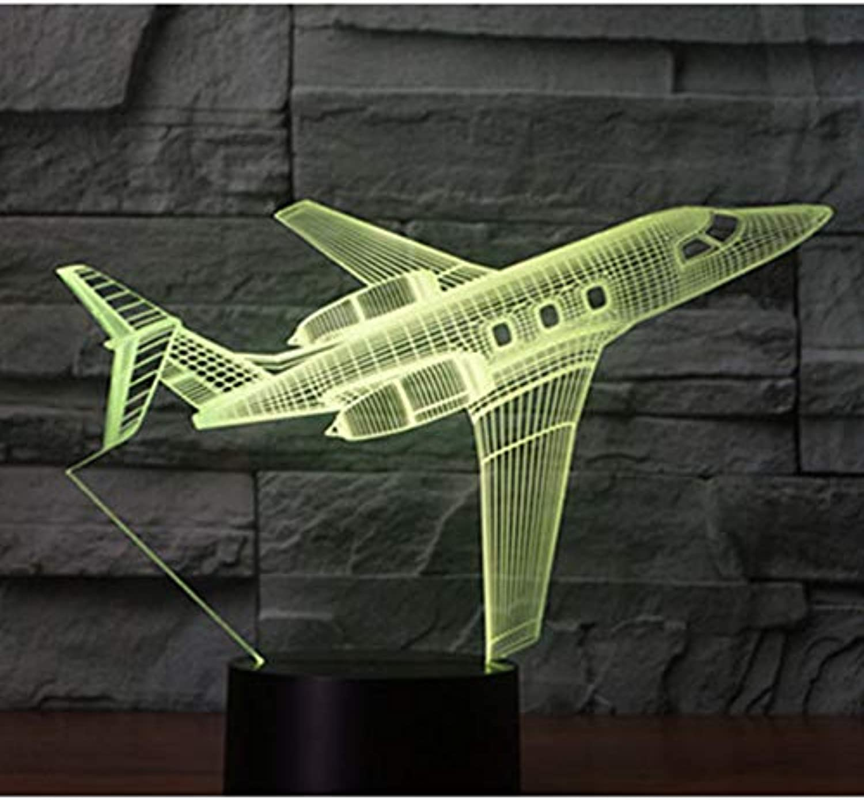 Sakj-d 3D Led Nachtlicht Passagierflugzeug Flugzeug Mit 7 Farben Licht Für Heimtextilien Lampe Erstaunliche Visualisierung Optische Tuschung