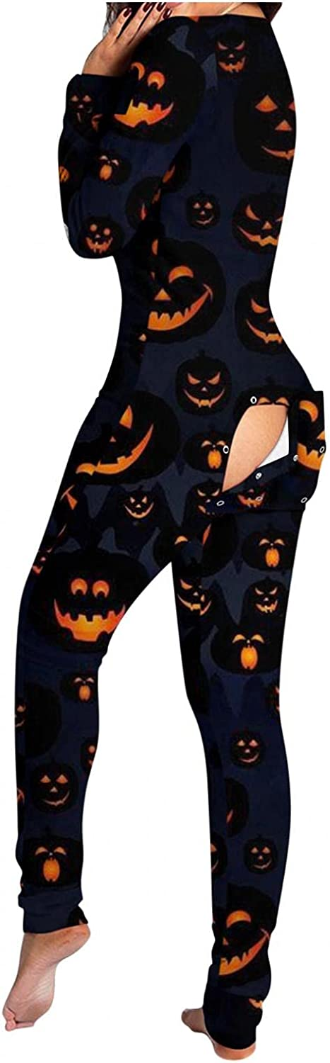 Lingbing Halloween Jumpsuits for Women, Funny Pumpkin Face Graphic Bodysuits Long Sleeve Functional Button Flap Pajamas