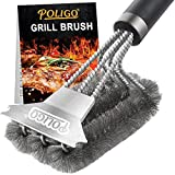 POLIGO Grill Brush and Scraper with Deluxe Handle - Safe Wire Stainless Steel BBQ Brush for Gas...
