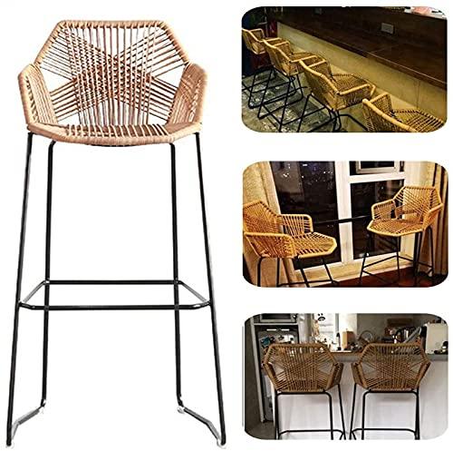 PINFU Sgabelli da Bar semplicità Stile Schienale caffè Ristorante Sgabelli Alti Ferro Rattan Vimini Sedia con Schienale Alto con poggiapiedi