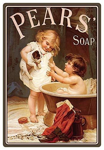 Metalen bord 20x30cm reclame pears soap badkuip kinderen met hond retrobord