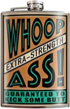 Whoop Ass Kick Some Butt Hilarious Flask - 8oz Stainless Steel Flask - come in a GIFT BOX - by Trixie & Milo