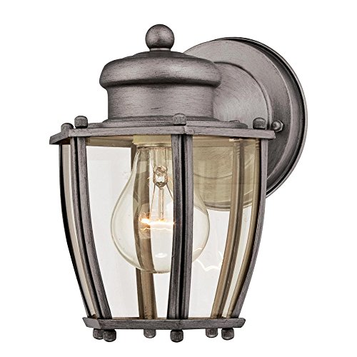 Westinghouse Lighting 6468800 One-Light, Antique Silver Finish with Clear Curved Glass Outdoor Wall Fixture