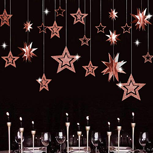 XNX Glitter Rose Gold Star Garland Twinkle Little Star Party Decoration 3D Star Cutout Hanging Bunting Banner for Birthday/Wedding/Christmas
