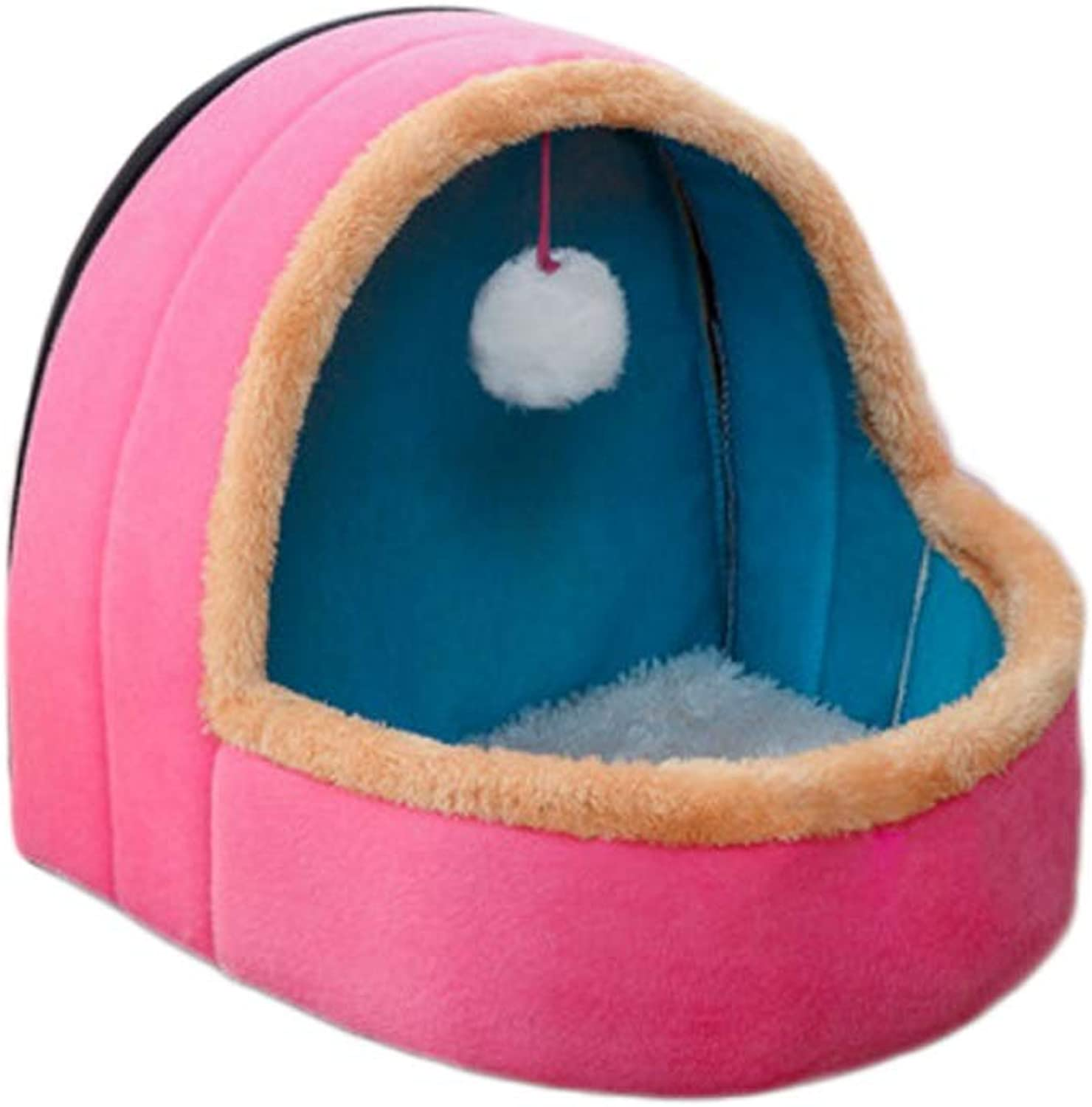 Kennel, Removable Washable Four Seasons Small Dog Cat Litter Winter House Warm Pet Nest Bed Room Three Sizes Optional (color   Pink, Size   S)