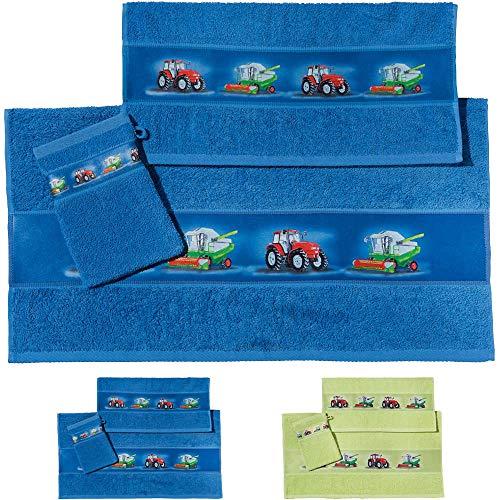 Erwin Müller Kinder Handtuch-Set, Frottier-Set 3-TLG. Traktor blau Größe 70x110 cm + 50x70 cm + 15x21 cm - 1 Handtuch, 1 Badetuch, 1 Waschhandschuh - kuschelig weich, saugstark