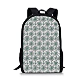 HOJJP sac à dos Football Stylish School Bag,Sports Inspired Pattern Rugby Balls in Hand Drawn Sketch Style Game Symbol Decorative for Boys,11''L x 5''W x 17''H