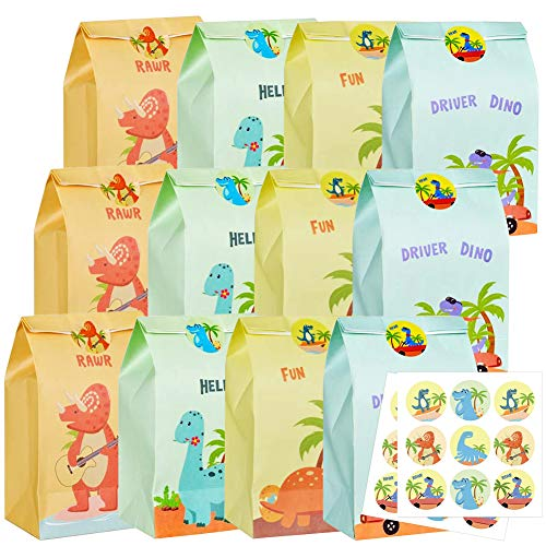 Bolsas de Regalo de Papel CHEPL 12PCS Dinosaurio Bolsa Regalo Cumpleaños Caramelos Bolsas de Papel Regalo con Pegatinas para Cumpleaños, Boda, niños Fiestas, Navidad Regalo