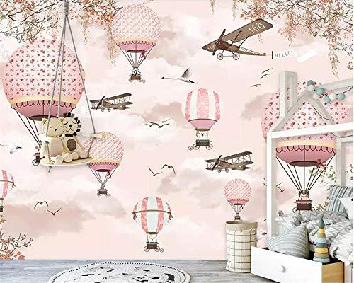 Papel Pintado Mural De Papel Tapiz Personalizado Grande Avión De Globo Aerostático De Dibujos Animados Cielo Rosa Pintado A Mano Habitación Infantil Papel Tapiz 3D,200Cmx140Cm
