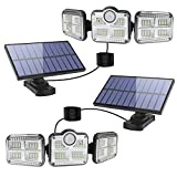 Solar Lights Outdoor Indoor - LED Solar Motion Sensor Lights 3 Adjustable Heads 270° Wide Angle: Security Flood Light IP65 Waterproof Solar Powered Wall Lights with Remote Control & 16.5 ft Cables