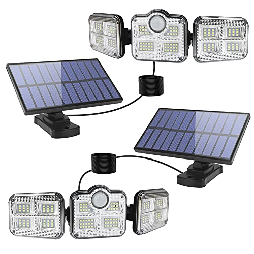 Luces solares para interiores y exteriores, luces LED con sensor de movimiento, 3 cabezales ajustables de 270° gran angular: luz de inundación de seguridad IP65, resistente al agua, funciona con energía solar, luces de pared con control remoto y cables de 5 m