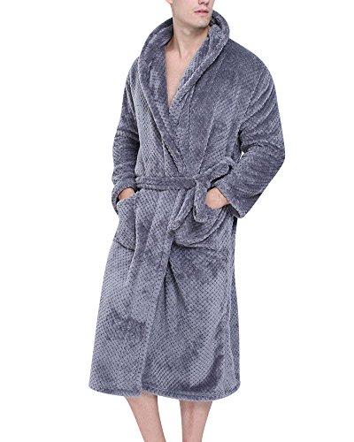 Mujer Hombre Pijamas de Kimono Albornoz Largo Microfibra Pareja Túnica Bata Ropa