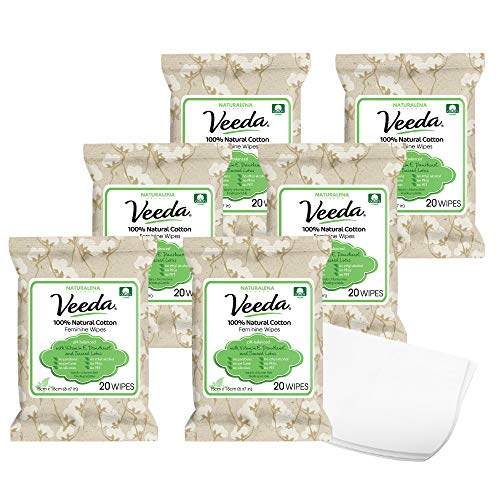 Veeda 100% Natural Cotton PH Balanced Hypoallergenic Feminine Wet Wipes, Safe Cleansing Cloths for...