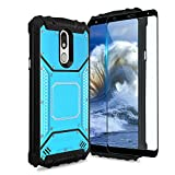 TJS Phone Case Compatible with LG Stylo 5/Stylo 5 Plus/Stylo 5V/Stylo 5X /Stylo 4/Stylo 4 Plus/Q Stylus Plus, with [Full Coverage Tempered Glass Screen Protector] Aluminum Magnetic Support (Blue)
