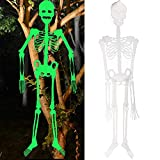 Halloween Party Large Skeletons Decorations, Glow in The Dark Outdoor Decor Clearance Posable Hanging Life Size Plastic Supplies Skelton 5ft Scary Door Props Ornaments Indoor Spooky Skulls Outside
