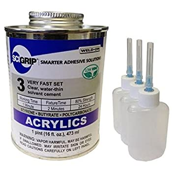Weld-On 3 Acrylic Adhesive - Pint and 3 Pack of Weld-On Applicator Bottle with Needle
