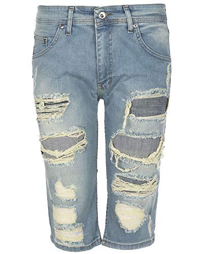 Heren Ripped Slim Fit Jean Shorts Stretch Drie kwart lengte Denim korte broek